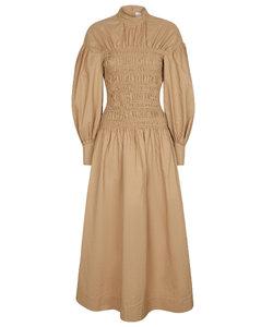 皱褶装饰棉质和亚麻加长连衣裙