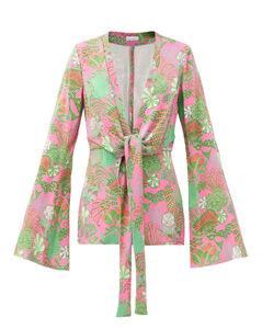 Knot-front psychedelic floral-print pyjama jacket