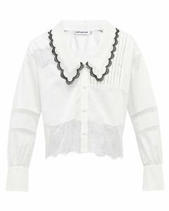 Chelsea-collar lace-insert poplin shirt
