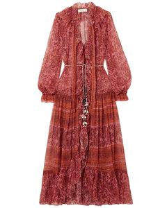 Woman Edie Embellished Printed Silk-chiffon Maxi Dress