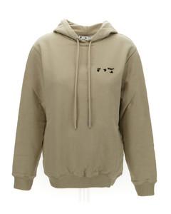 Beige cotton logo debossed hoodie