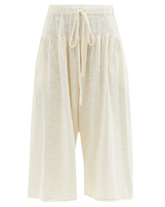 Tier cotton-knit cropped wide-leg trousers