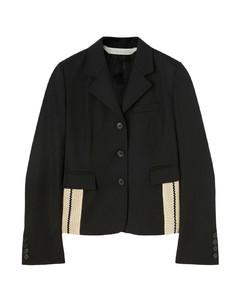 Zip-pocket herringbone slim-leg trousers