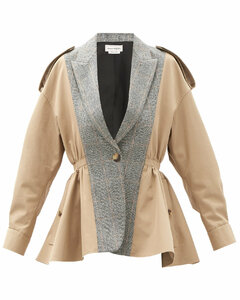 Peplum cotton and wool-blend trench jacket