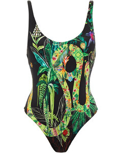 Woman Crystal-embellished Printed Swimsuit