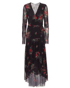 花卉网布中长裹身连衣裙