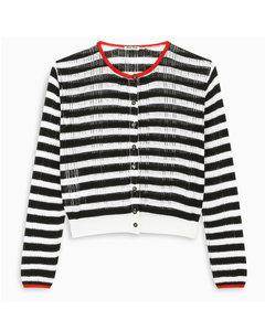 Horizontal blue/ white stripe cardigan