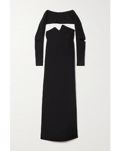 Ruffle-trimmed gathered floral-print crepe midi dress