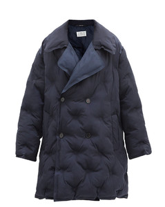 Double-breasted quilted shell coat