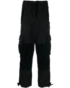 Frilled-neck crochet-lace cotton-blend dress