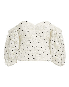 Daisy Guipure Puff-Sleeved Top
