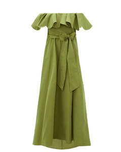 Ruffled off-the-shoulder cotton-blend gown