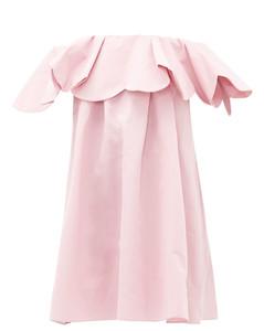 Off-the-shoulder cotton-blend faille mini dress