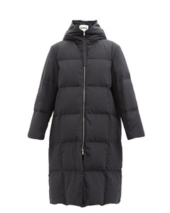 Hooded quilted recycled-shell down coat