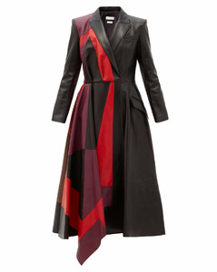 Patchwork leather coat