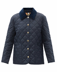 Dranefield corduroy-collar quilted jacket