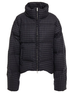 Woman Quilted Gingham Wool-blend Twill Jacket