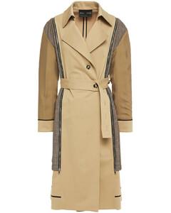 Woman Zip-detailed Houndstooth Jacquard-paneled Cotton-blend Gabardine Trench Coat