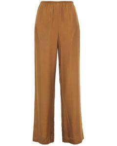 Woman Gathered Silk-blend Twill Wide-leg Pants