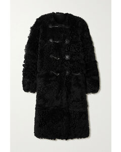 Oversized Leather-trimmed Shearling Coat
