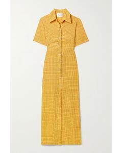 Net Sustain Sabri Ruched Checked Seersucker Shirt Dress