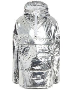 Woman Thindown Appliquéd Foiled Shell Hooded Down Jacket