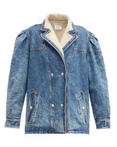 Lucinda exaggerated-shoulder denim jacket