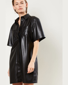 Berto Vegan Leather Shirt Dress