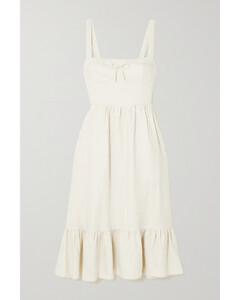 Maegan Shirred Linen Midi Dress