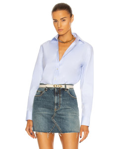Oversize Cotton Poplin Shirt in Baby Blue