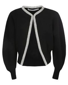Crystal Tubular Necklace Cropped Cardigan