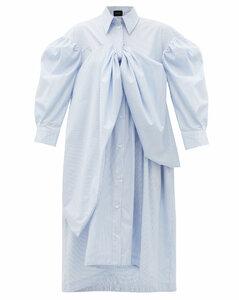 Bow-front striped cotton-poplin shirt dress