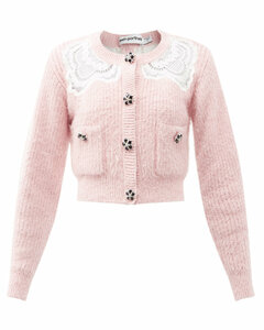 Crystal-button lace-insert cardigan