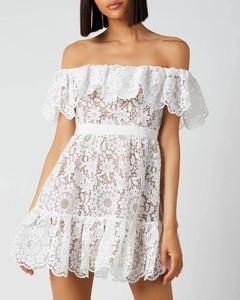 Women's Guipure Lace Off The Shoulder Dress - White