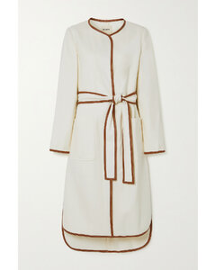 Iman Belted Leather-trimmed Twill Coat