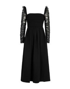 Black crepe and point d'esprit midi dress