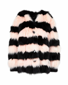 Striped Fur Coat