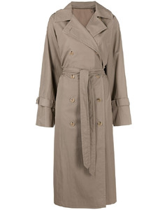 tied-waist double-breasted trench-coat