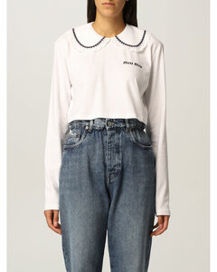 cropped T-shirt with Peter Pan collar