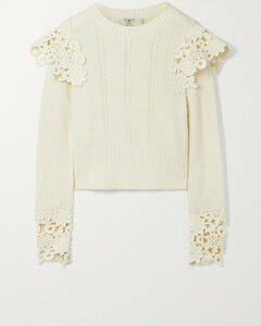 Zandra Guipure Lace-trimmed Ribbed Cotton-blend Sweater