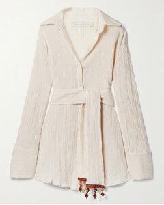 Net Sustain Ocean Embellished Belted Crinkled Organic Cotton-gauze Shirt