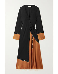 Studded Stretch-jersey And Satin Wrap Midi Dress