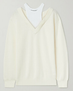 Layered Merino Wool And Stretch-cotton Jersey Sweater