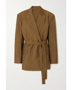 Belted Wool And Mohair-blend Blazer