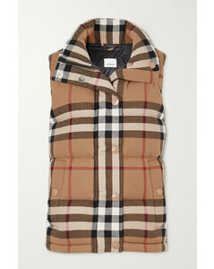 Checked Quilted Cotton Down Vest