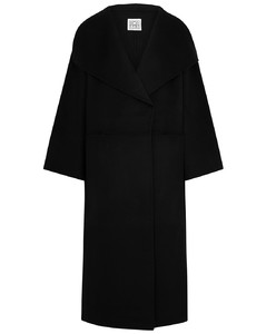 Annecy black wool and cashmere-blend coat