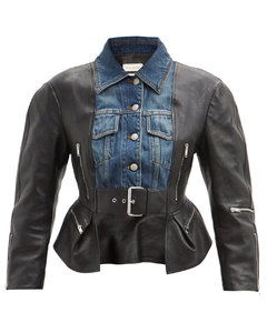 Nappa leather and denim basque jacket