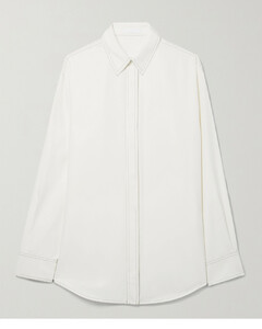 Textured high-waisted cotton-blend midi skirt