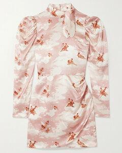 Livie Tie-detailed Printed Silk-satin Mini Dress