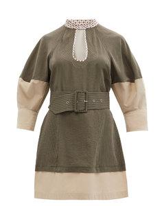 Belted topstitched mini dress